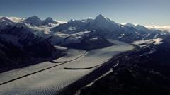 Aerial Panning Grand Plateau Glacier Alaska Stock Footage