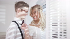 4K Portrait of transvestite man & gay partner getting ready for wedding day Stock Footage