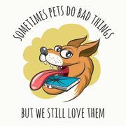 Dog Bites Cell Phone Stock Illustration