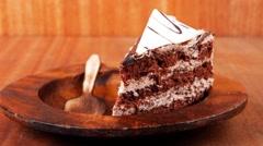 Sweet brownie chocolate cream cake Stock Footage