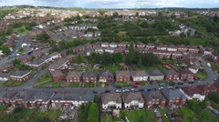 Aerial view of a council estate in England. Stock Footage