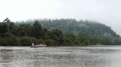 Bornean river filming from boat Stock Footage