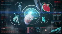 Businessman touching digital screen, brain, heart, lungs, internal organs Stock Footage