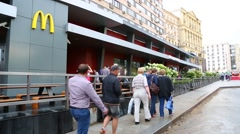 Restaurant McDonald's on Pushkin Square in Moscow Stock Footage