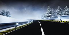 Freeway leading through calm winter landscape Stock Illustration