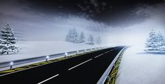 Highway leading through calm winter landscape Stock Illustration