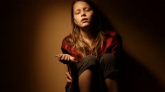 Teen girl. Drug addiction. Depressed face of a teen girl with overdose  Stock Footage