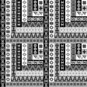 Geometrical background with ethnic motifs Stock Illustration