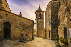 Casale Marittimo old stone village in Maremma on sunset. Picturesque flowery Stock Photos