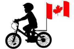 A kid  rides a bicycle with Australia flag Stock Illustration