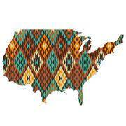 USA map patterned in native american texture Stock Illustration