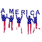 People silhouettes patterned in USA flag Stock Illustration