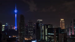 Timelapse of Kuala Lumpur. Night cityscape with Menara KL Tower Stock Footage