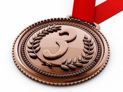 Bronze medal with number three and laurels. 3D illustration Stock Illustration