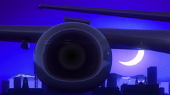 Pretoria South Africa Airplane Take Off Moon Night Blue Skyline Travel Stock Footage