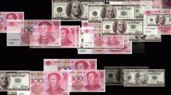 4k Float looming 100 dollar 100 RMB bills exchange rate money wealth background Stock Footage
