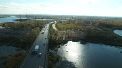 Aerial footage of traffic at bridge Stock Footage