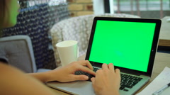 Using the laptop with green screen. Woman typing on the keyboard in the office Stock Footage