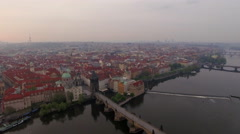 Prague architecture, aerial view at dawn Stock Footage