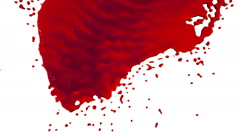 Red paint dripping down over screen in slow motion. tinted oil Stock Footage