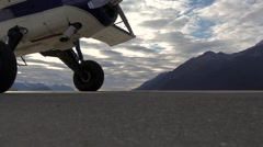 Pilot Exiting From Small Plane Landing Stock Footage