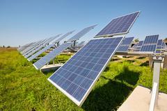 Solar panels. Alternative sources of power. Solar farm. Stock Photos