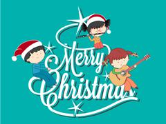 Children playing music on Merry Christmas tree Piirros