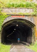 One of the old railway tunnels on the Monsal trail, Peak District, Derbyshire Stock Photos