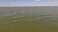 Fly over the salt lake. Round shot Stock Footage