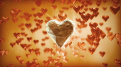 One true love - a large diamond heart among small red hearts. Stock Footage