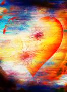 Heart shape in the sky, abstract graphic collage background Stock Illustration