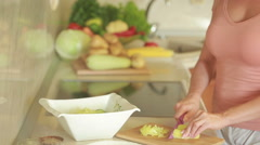 Preparation of salads. Healthy vegetables in the kitchen. cooking dinner Stock Footage