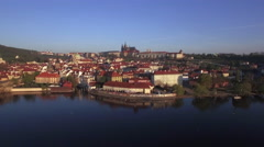 Aerial shot of Prague on Vltava river bank, Czech Republic Stock Footage