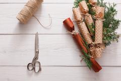 Creative hobby. Handmade christmas garland candies from paper Stock Photos