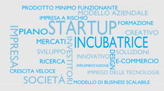 Startup, incubator word tag cloud - white, Italian variant Stock Footage