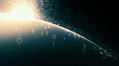 Cyberspace horizon with sun. Loop. Stock Footage