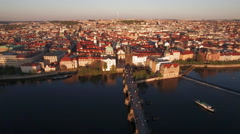 Aerial shot of Prague and Charles Bridge, Czech Republic Stock Footage