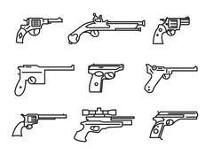 Firearm set. Guns, pistols, revolvers. Flat design. Outline linear version Piirros