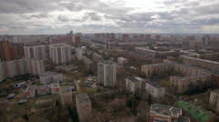 Panoramic aerial view of one of the districts of Moscow, cloudy weather. Urban Stock Footage