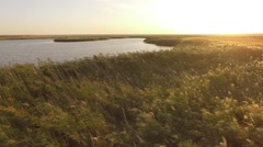 Sunset Lake in Kalmykia Very Low altitude Aerial shot Stock Footage