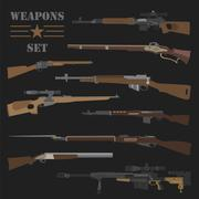 Firearm set. Gun, rifle, carbine. Flat design Piirros