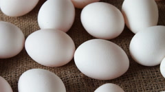 Fresh white large raw eggs Stock Footage
