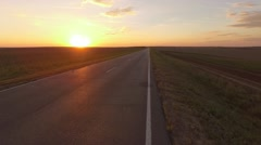 Sunset Road Flight over the road Very low Stock Footage