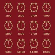 The Alarm Clock icon.  alarm clock symbol. Set Stock Illustration