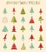 Christmas tree icon set. Flat design. Monochrome version Stock Illustration