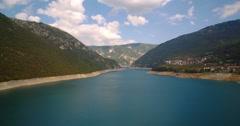 Aerial, Pivsko Jezero At Pluzine, Montenegro. Graded and stabilized version. Stock Footage