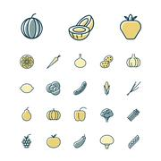 Thin line icons for fruits and vegetables Stock Illustration