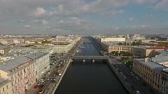View of the Fontanka River from above. Stock Footage