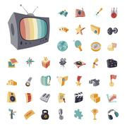 Vintage icons set for entertainment Piirros