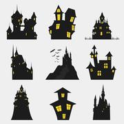 Misterious house in the dark night. Halloween holiday. Flat icons Stock Illustration